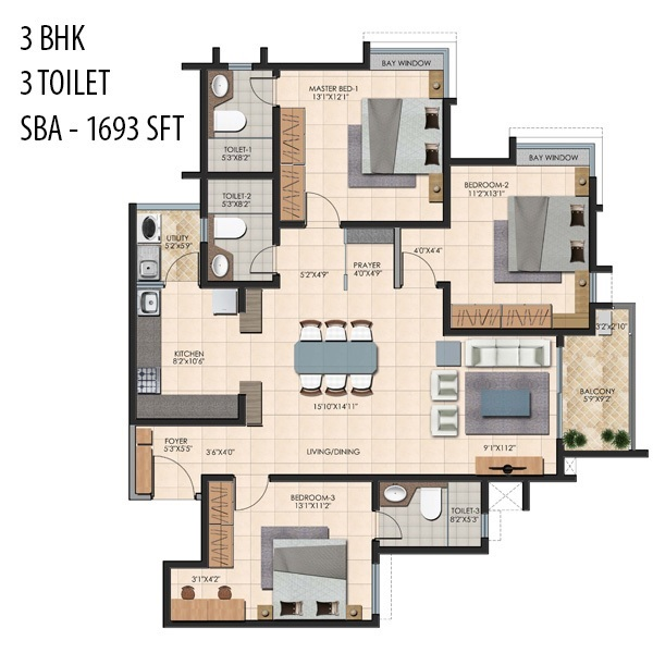 durga petals apartment 3bhk 1693sqft101