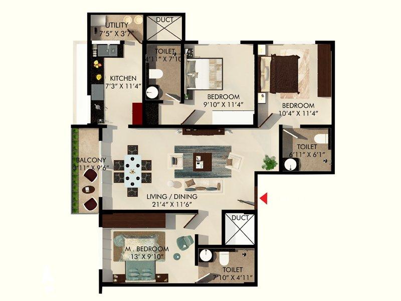 eminence park apartment 3 bhk 1281sqft 20202406142443