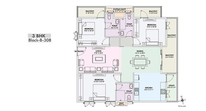 fortuna viva apartment 3bhk 1733sqft121