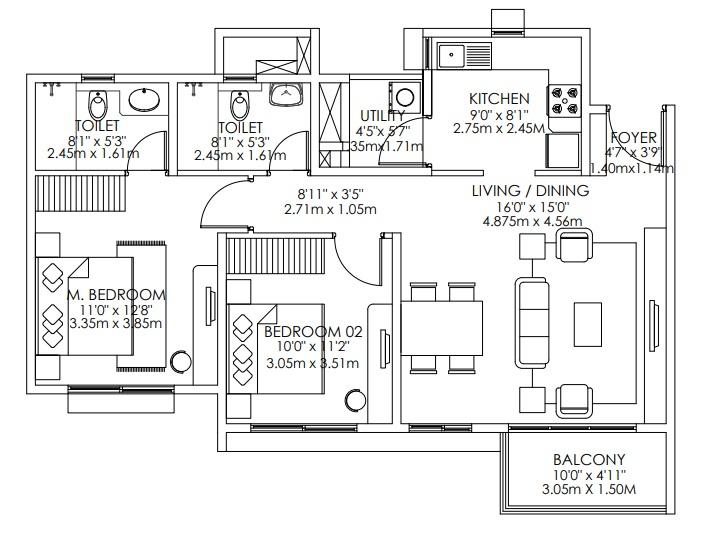 godrej aqua apartment 2bhk 1107sqft81