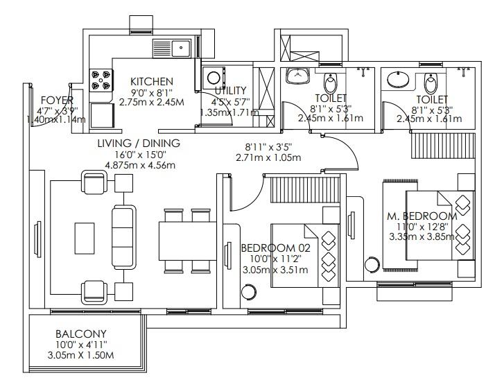 godrej aqua apartment 2bhk 1266sqft101