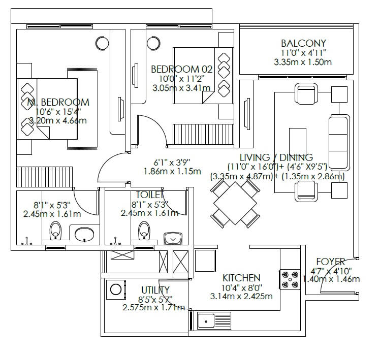 godrej aqua apartment 2bhk 753sqft 1