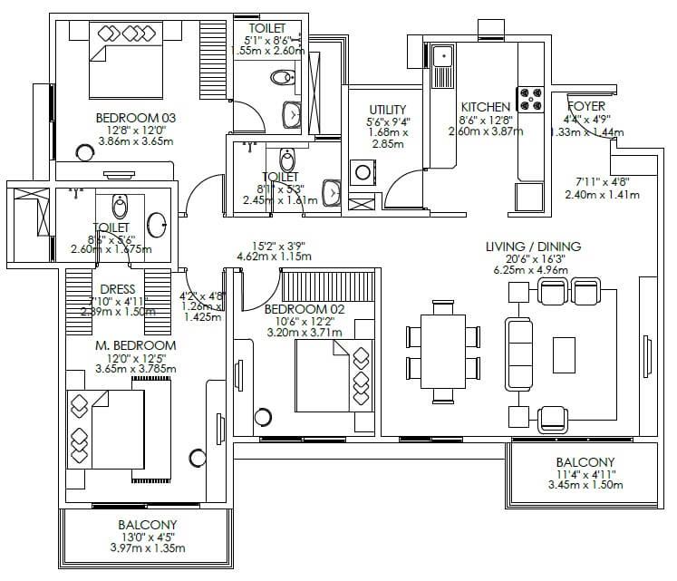 godrej aqua apartment 3bhk 1237sqft 1