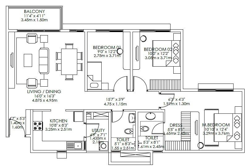 godrej aqua apartment 3bhk 1461sqft121