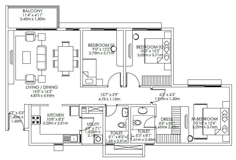 godrej aqua apartment 3bhk 990sqft 1