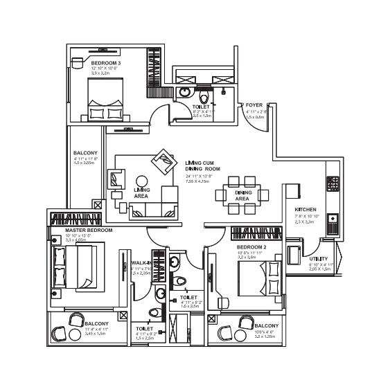 godrej avenues apartment 3bhk 1522sqft 61