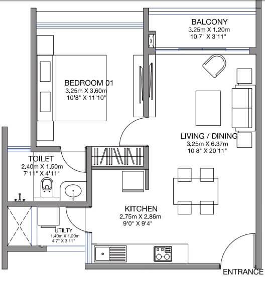godrej lake gardens apartment 1bhk 752sqft 1