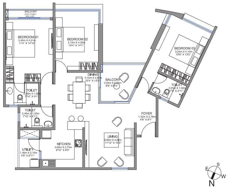 godrej lake gardens apartment 3bhk 1748sqft 1