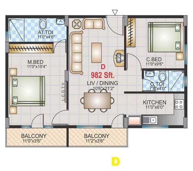 golden telecom enclave apartment 2 bhk 982sqft 20213511193540