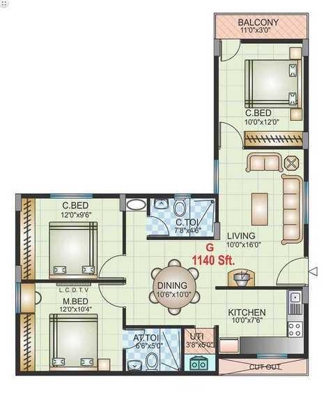 golden telecom enclave apartment 3 bhk 1140sqft 20213511193548