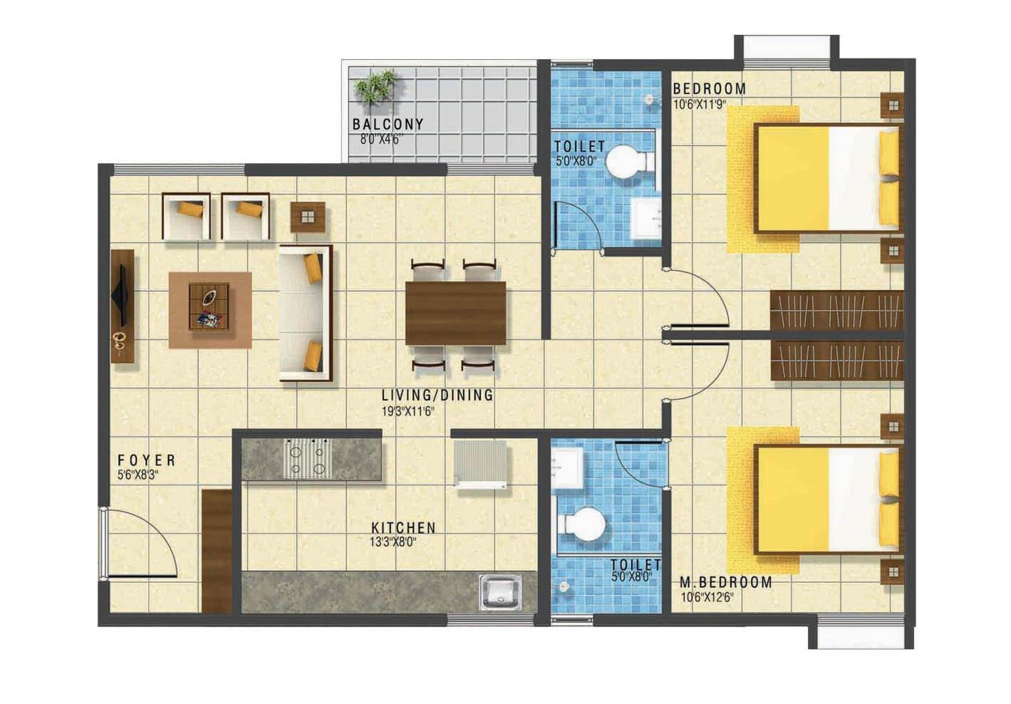 grc subhiksha apartment 2bhk 1015sqft 1