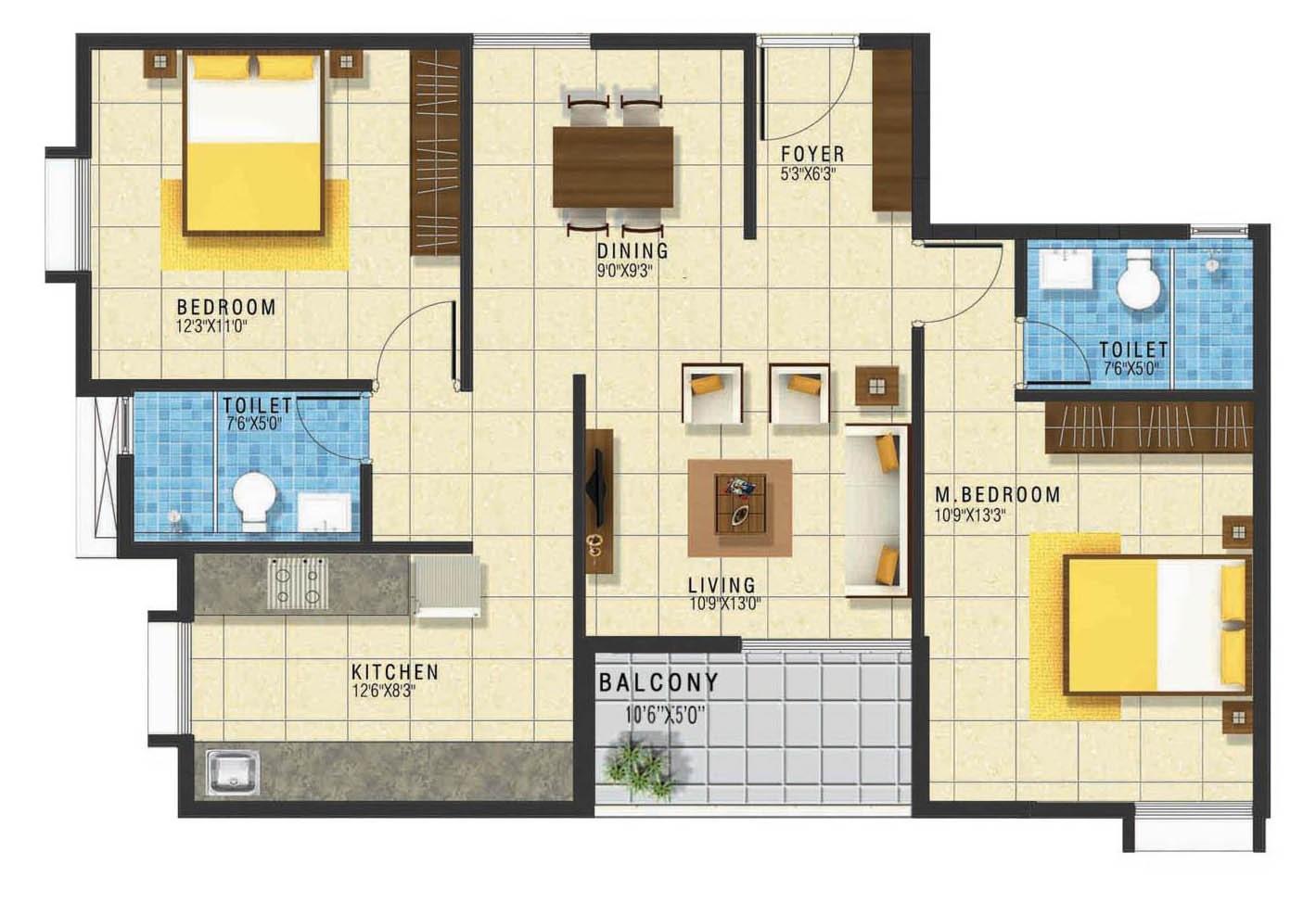 grc subhiksha apartment 2bhk 1150sqft 1
