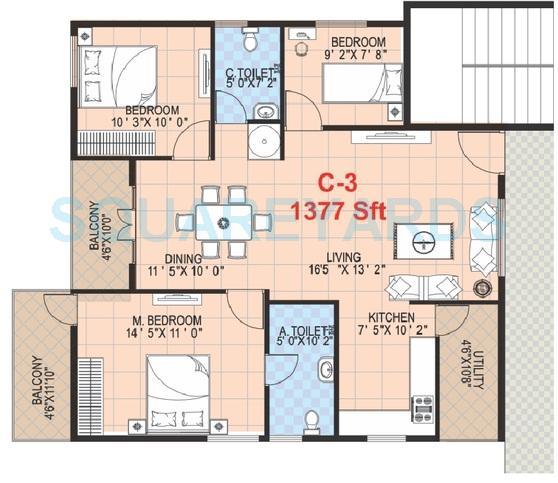 griha mithra grand gandharva apartment 2bhk 1377sqft 1