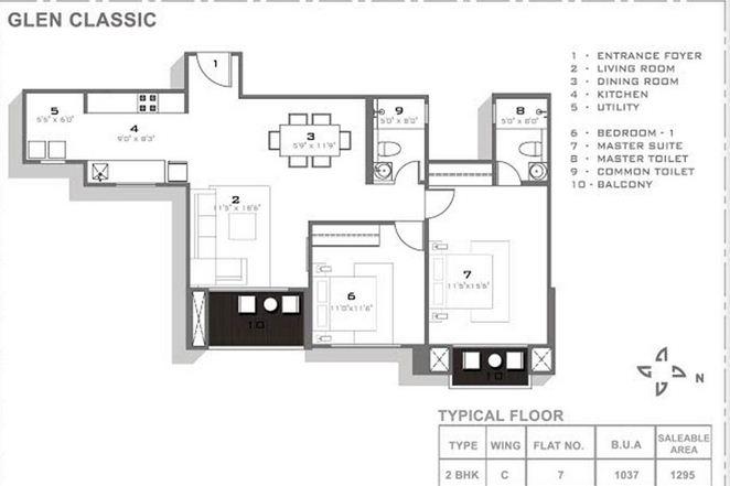 hiranandani glen classic apartment 2bhk 1295sqft 1