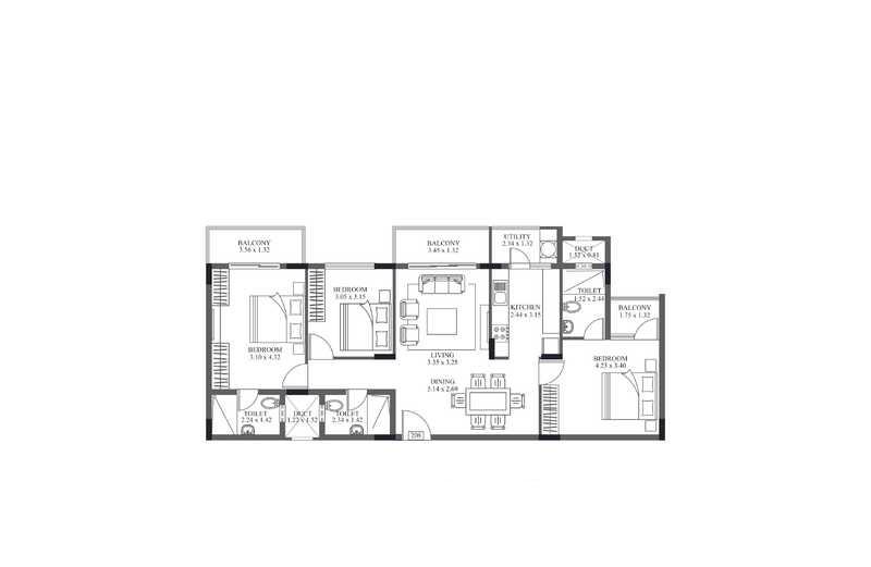 hm crescendo apartment 3bhk 1324sqft121