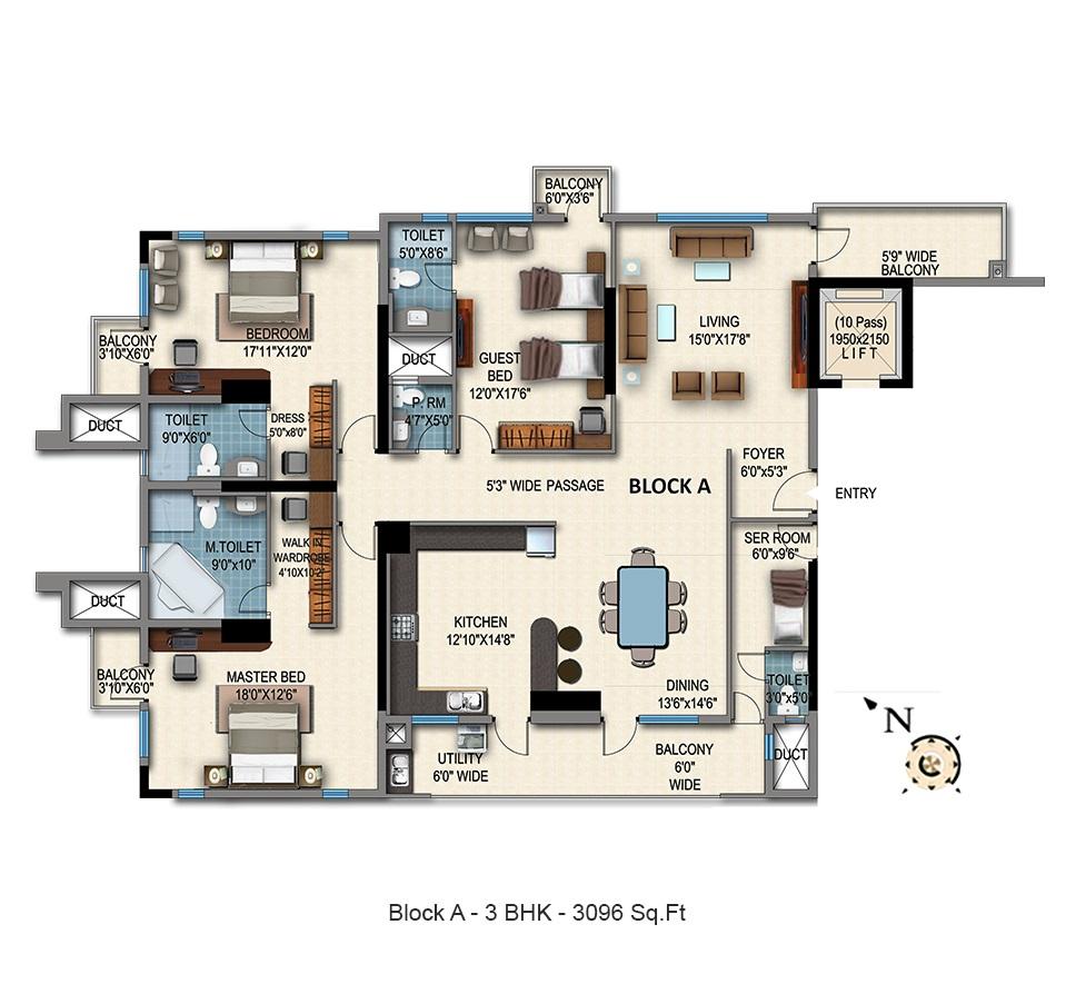 hm grandeur apartment 3bhk 3096sqft21