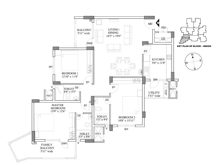 hm indigo apartment 3bhk 1559sqft161