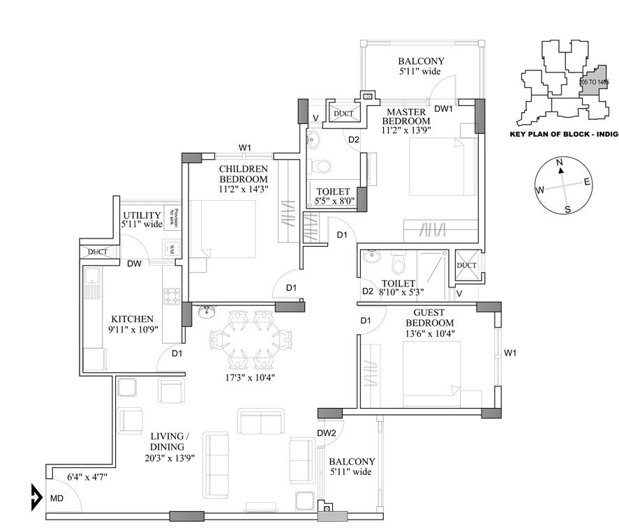 hm indigo apartment 3bhk 1600sqft161