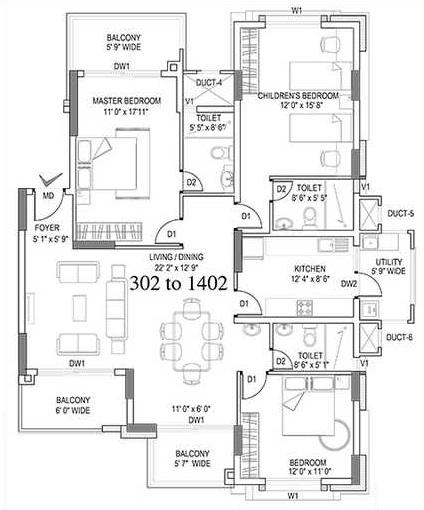 hm symphony apartment 3bhk 1717sqft111