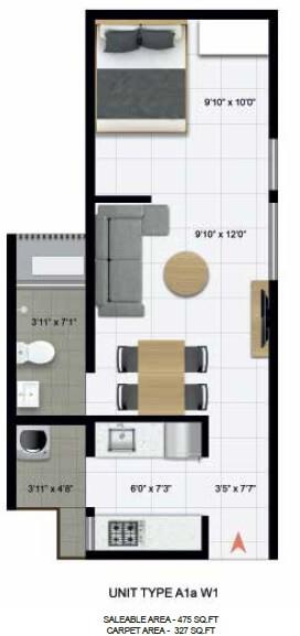 icon homz iconest 3 apartment 1bhk 327sqft 1