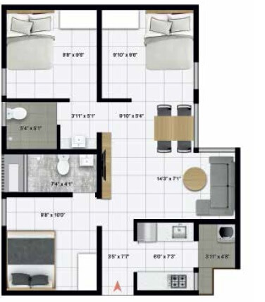 icon homz iconest 3 apartment 3bhk 621sqft 1