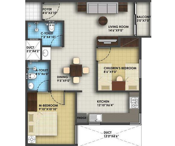 icon honeypool apartment 2bhk 805sqft21