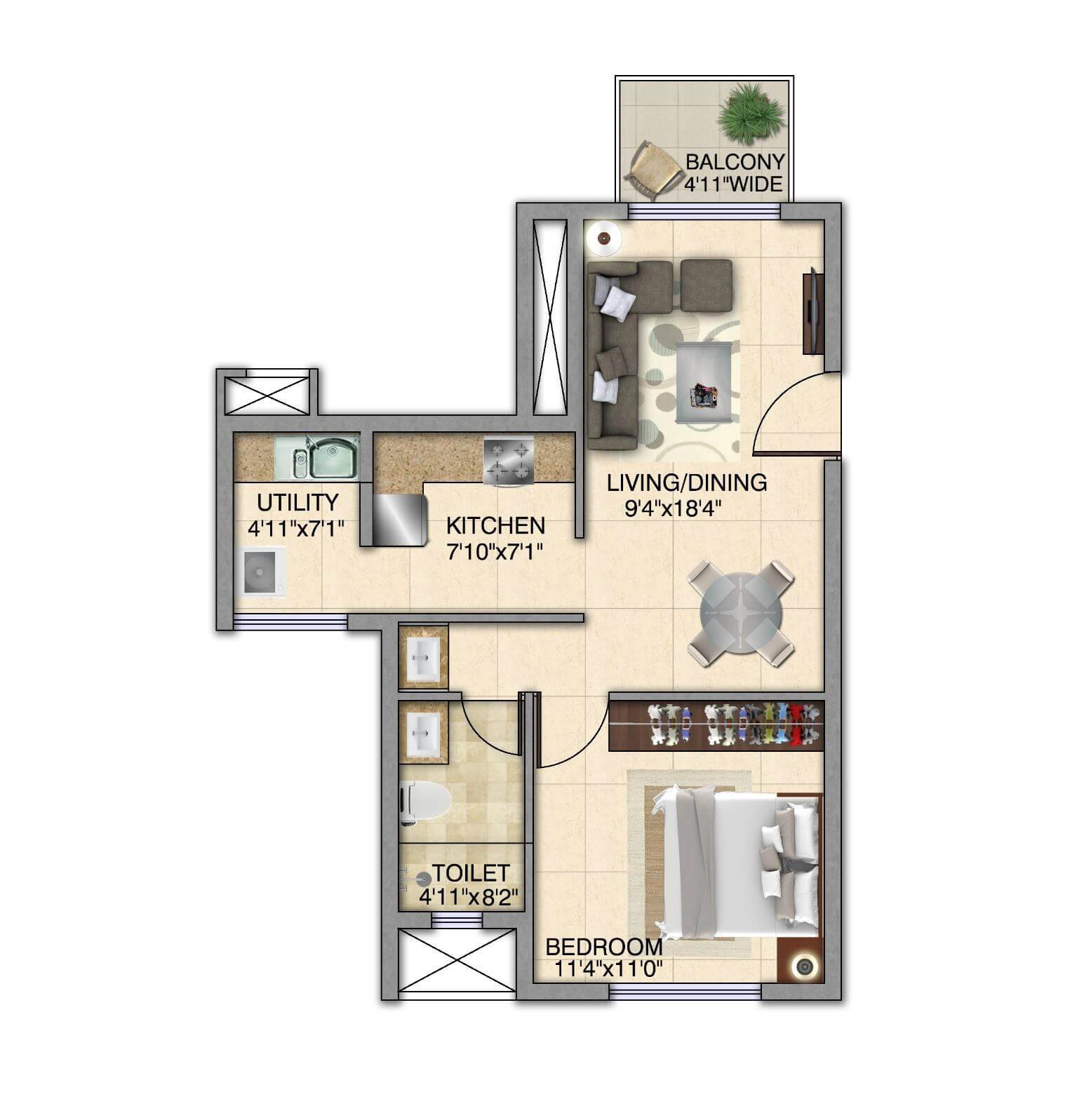 kolte patil itowers exente apartment 1bhk 715sqft 1