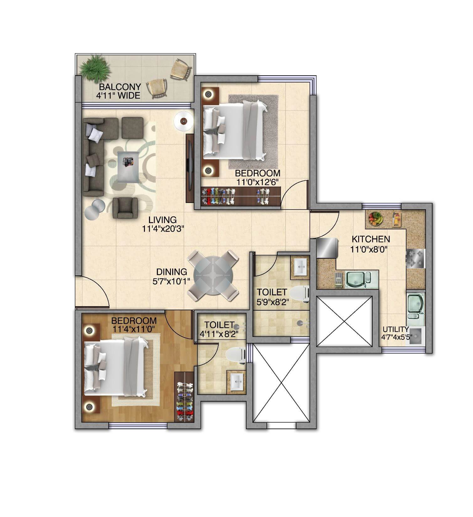 kolte patil itowers exente apartment 2bhk 1221sqft 1