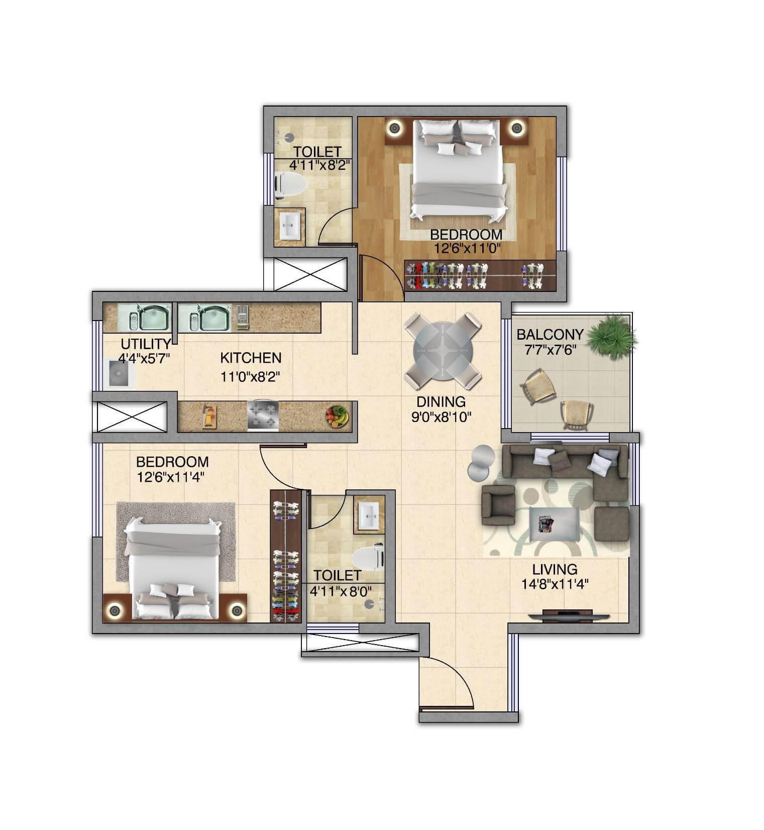 kolte patil itowers exente apartment 2bhk 1225sqft 1