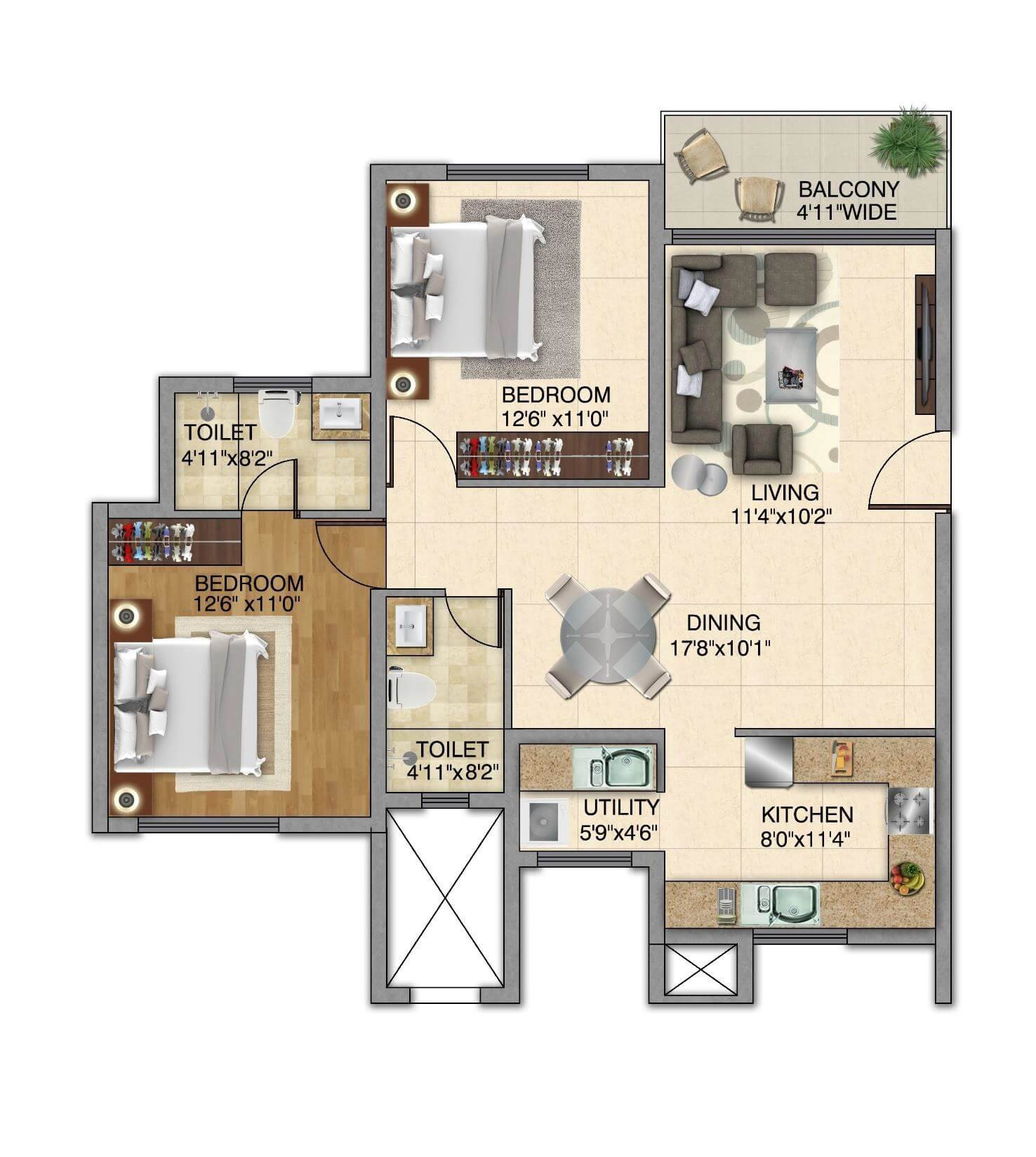 kolte patil itowers exente apartment 2bhk 728sqft 1