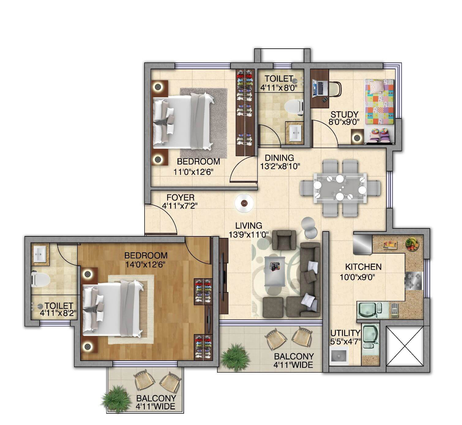kolte patil itowers exente apartment 2bhk st 1394sqft 2