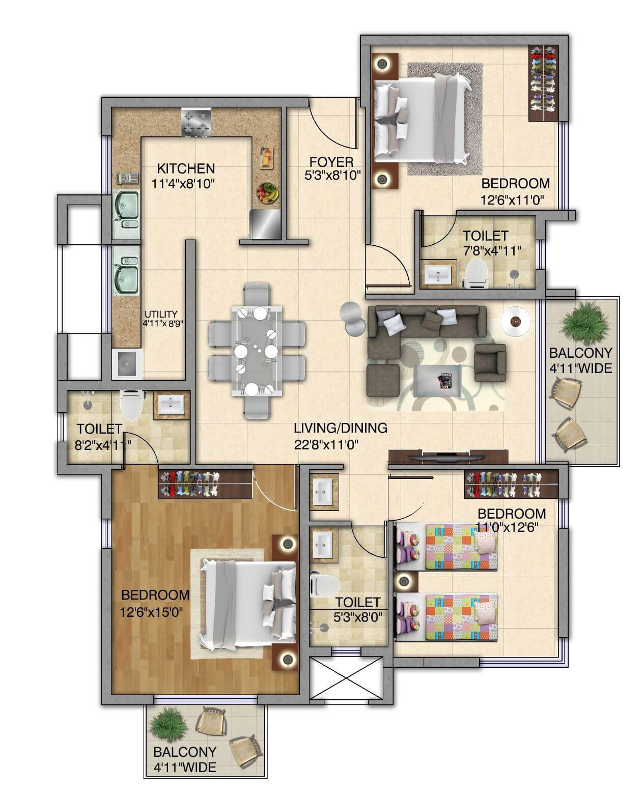 kolte patil itowers exente apartment 3bhk 1727sqft 1