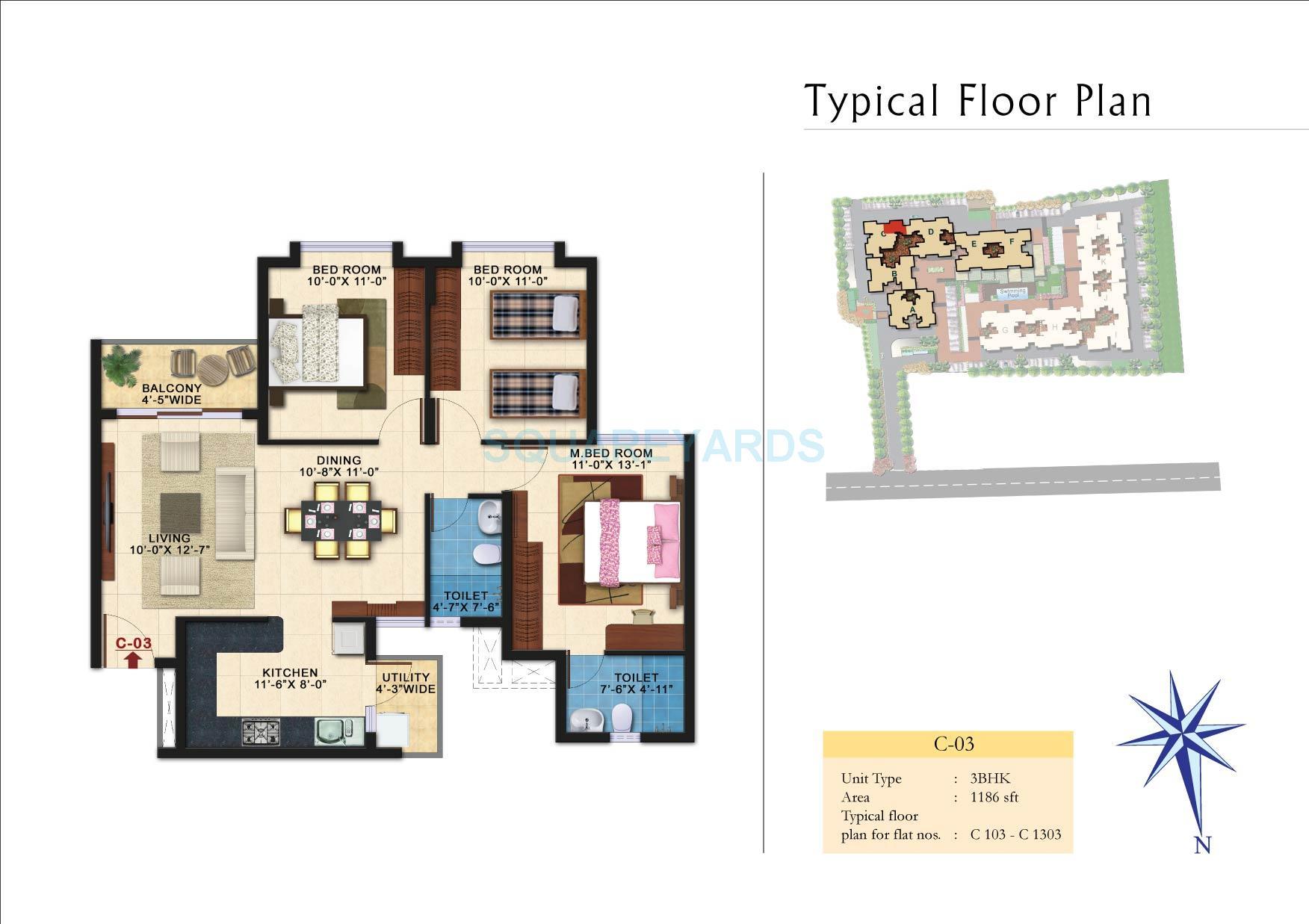 kolte patil raaga apartment 3bhk 1186sqft 1