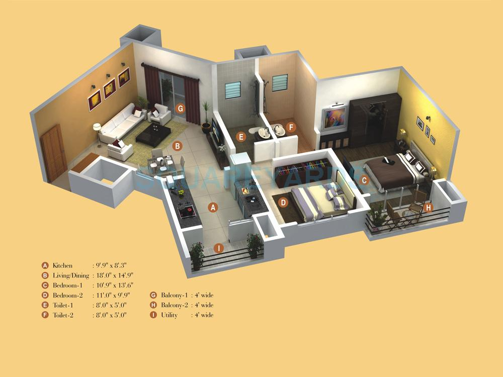 kumar princetown apartment 2bhk 1080sqft1