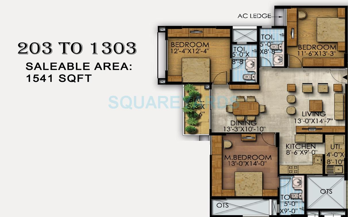 mahaveer ranches apartment 3bhk 1541sqft1