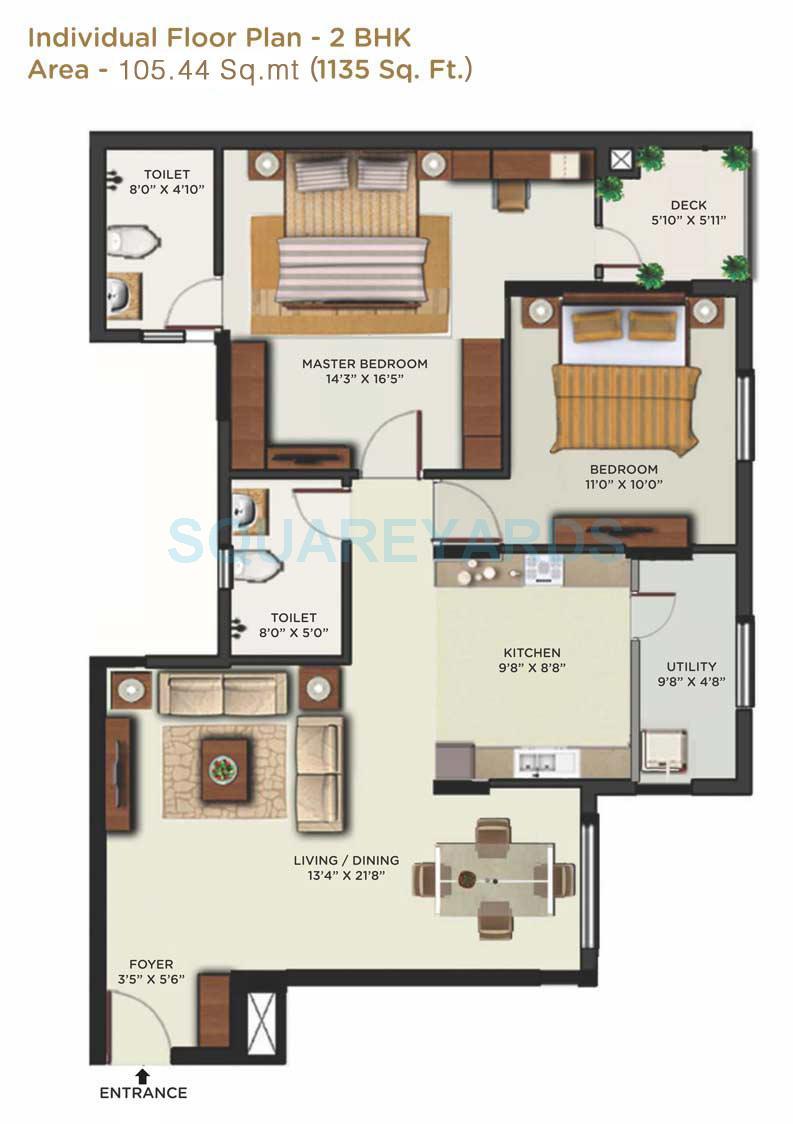 mantri alpyne apartment 2bhk 1135sqft1