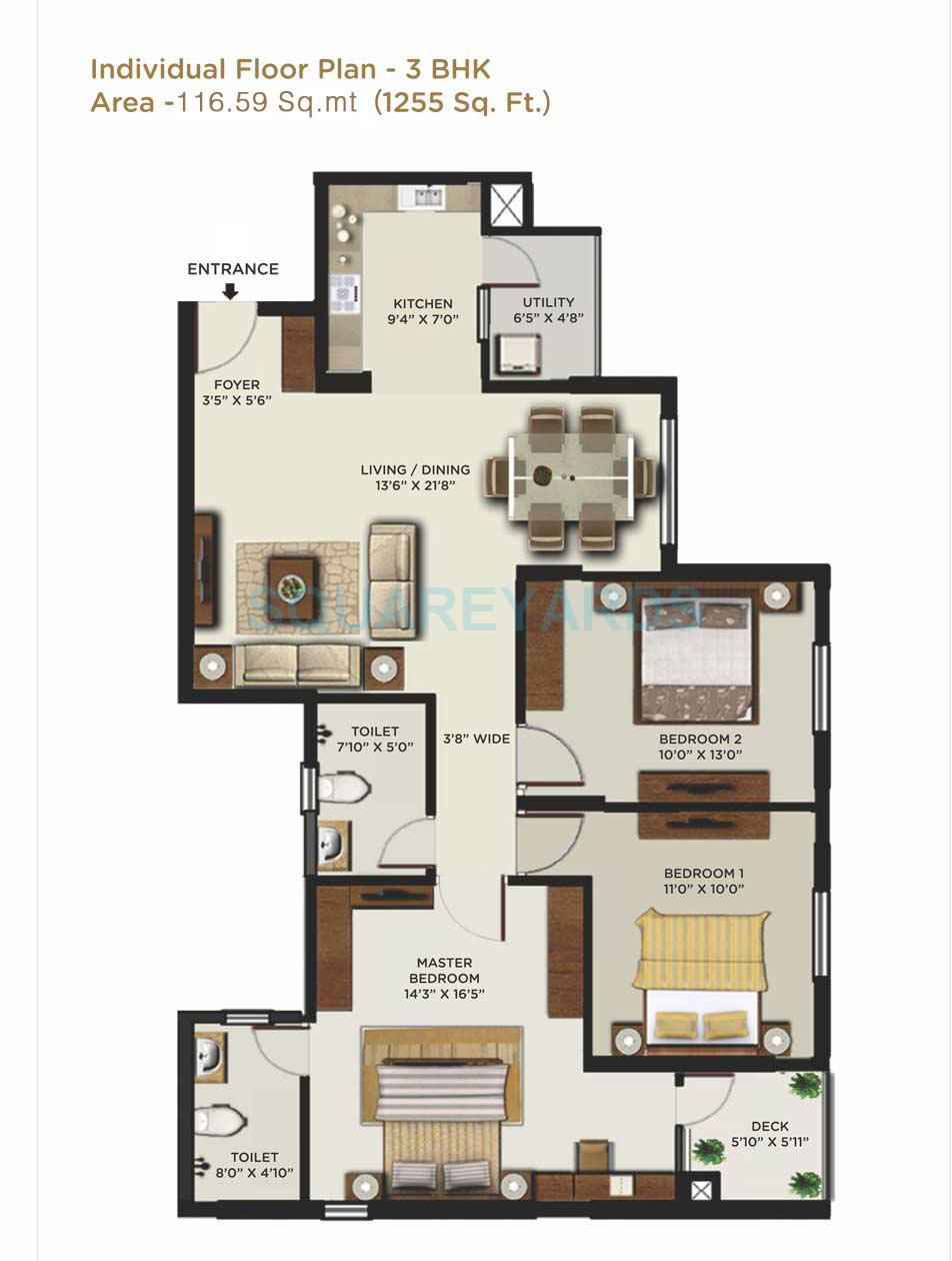 mantri alpyne apartment 3bhk 1255sqft1