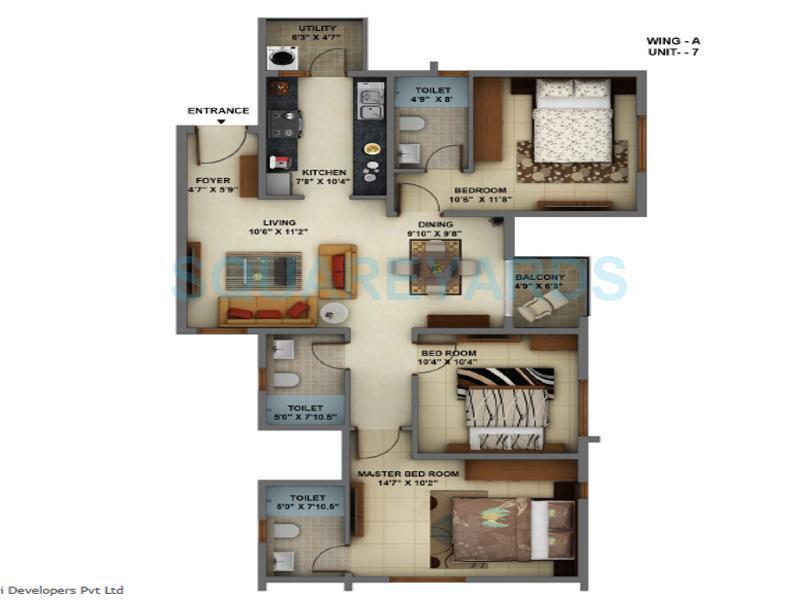 mantri energia apartment 3bhk 1330sqft 1