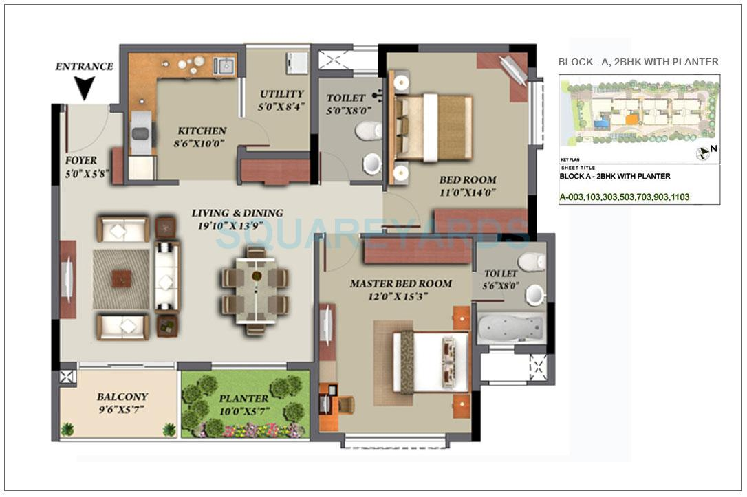 mantri glades apartment 2bhk 1455sqft1