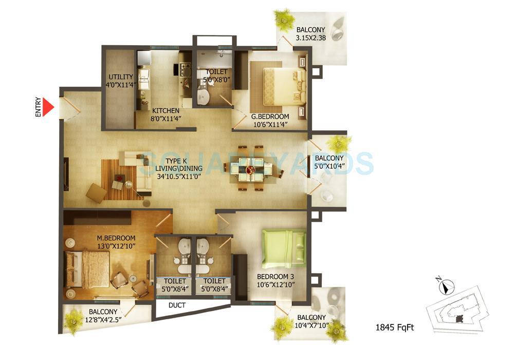 mantri global heights apartment 3bhk 1845sqft 1