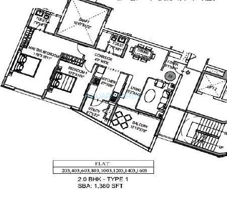 mantri lithos apartment 2bhk 1380sqft1