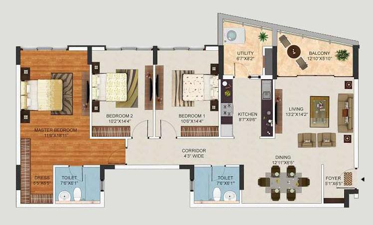 mantri lithos apartment 2bhk 1740sqft1