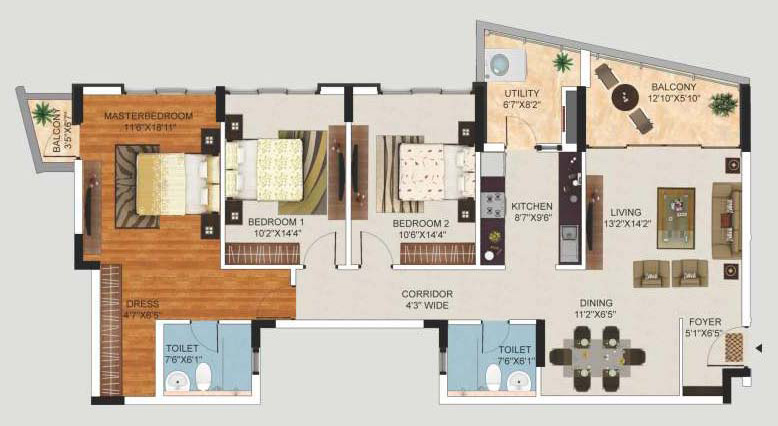 mantri lithos apartment 2bhk 1760sqft1