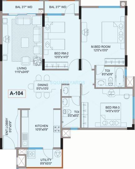 mantri mantri flora apartment 3bhk 1480sqft1