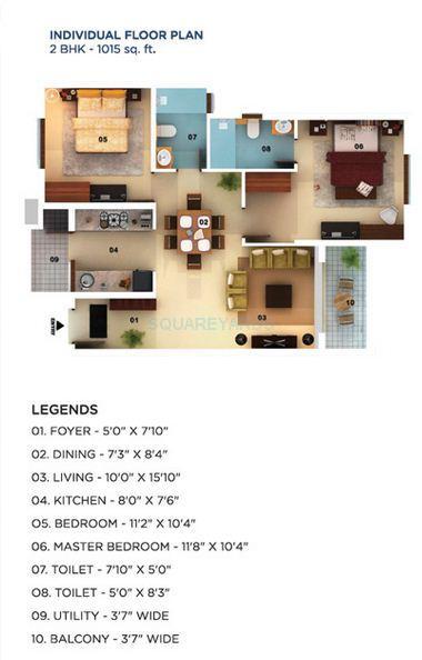 mantri mantri serenity apartment 2bhk 1015sqft1