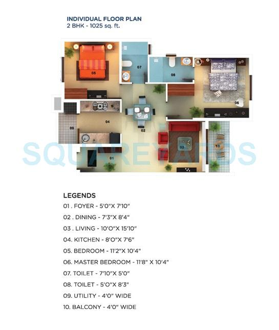 mantri mantri serenity apartment 2bhk 1025sqft1
