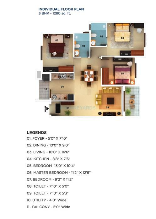 mantri mantri serenity apartment 3bhk 1280sqft1