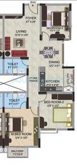 mantri webcity apartment 3bhk 1330sqft1