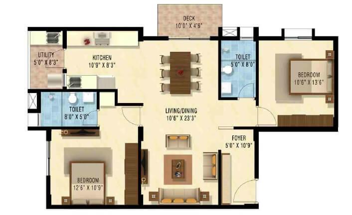 nakshatra upscale celestia apartment 2bhk 1215sqft1