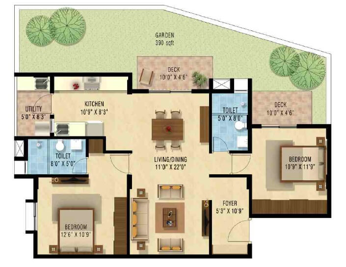 nakshatra upscale celestia apartment 2bhk 1230sqft1